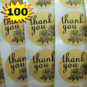 """Add-On Thank You Stickers 100ct  Round 1"""" Labels 1"""
